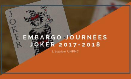 Embargo journées JOKER 2017/2018