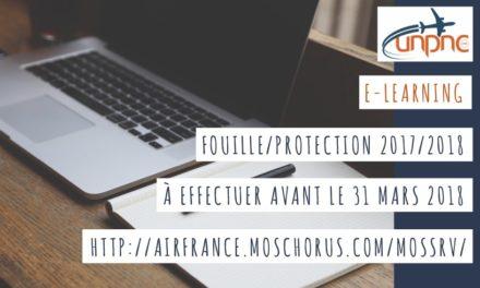 Rappel : E-Learning fouille/protection 2017/2018 à effectuer avant le 31 mars 2018