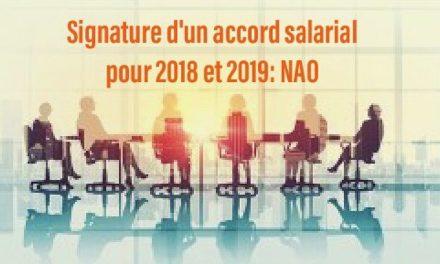 Signature d'un accord salarial pour 2018 et 2019: NAO