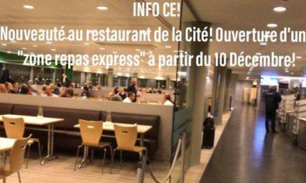 """Info CE: ouverture de la """"zone repas express"""""""