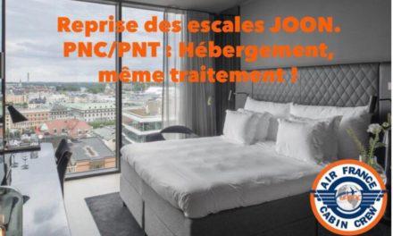 REPRISE DES ESCALES JOON, PNC/PNT : HEBERGEMENT, MEME TRAITEMENT