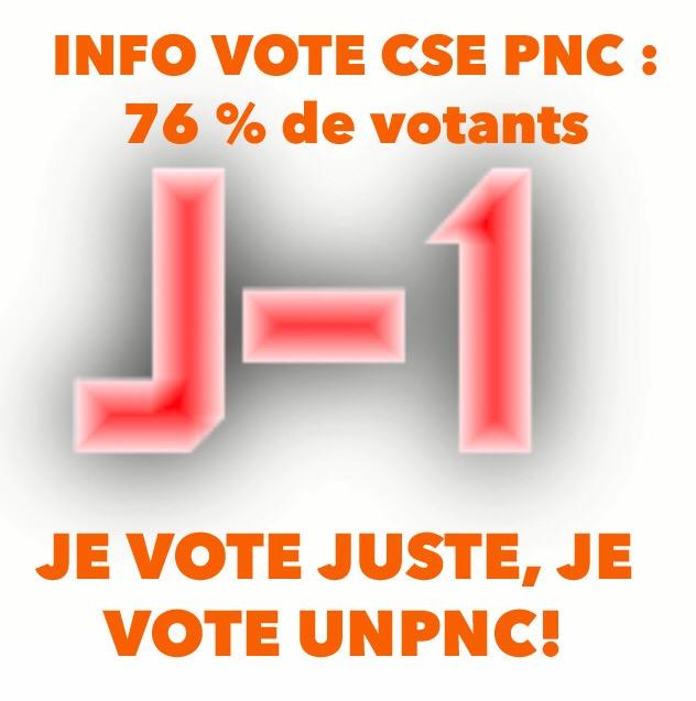 🛑 INFO VOTE CSE: 76% DE VOTANTS 🛑 ‼️ J-1 AVANT LA CLÔTURE DES VOTES ‼️