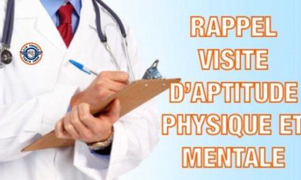 ?RAPPEL VISITE D'APTITUDE PHYSIQUE ET MENTALE❗