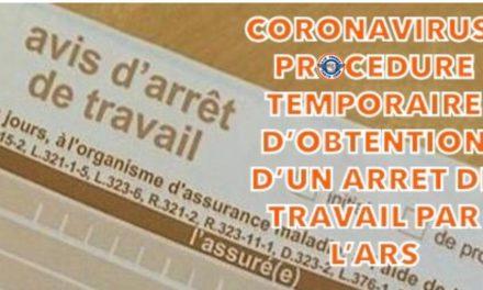 📌 CORONAVIRUS: PROCEDURE TEMPORAIRE D'OBTENTION D'UN ARRET DE TRAVAIL PAR L'ARS❗