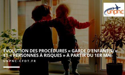 📌 ÉVOLUTION DES PROCÉDURES « GARDE D'ENFANT(S) » ET « PERSONNES À RISQUES » À PARTIR DU 1ER MAI❗